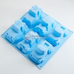 Форма силиконовая Машины 23х22х5 см. 6 ячеек 1