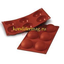 Форма для выпечки Полусфера 6 ячеек 7х3,5 см. Silikomart 1