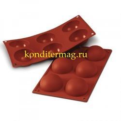 Форма силиконовая Полусфера 6 ячеек 7х3,5 см. Silikomart 1