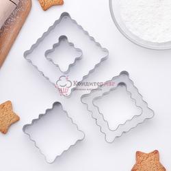 Формочка для печенья Квадрат ребристый 5 шт. металл 1