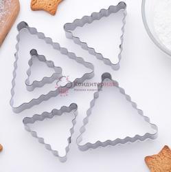 Формочка для печенья Треугольник ребристый 5 шт. металл 1