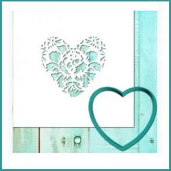 Формочка для пряников Сердце цветочное 7х8,5 см. + трафарет Любимова 1