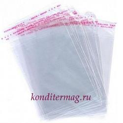 Пакет прозрачный 8х12 см. со скотчем 100 шт. 1