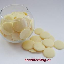 Глазурь белая шоколадная Топковер диски 20 мм. 200 г. 1