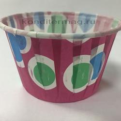 Форма для кексов бумажная Бортик 5х4 см. цветные шары 100 шт. 1