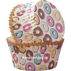 Форма для кексов бумажная круглая Пончики 5 см. и топперы 24 шт. Вилтон 2