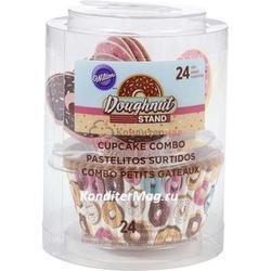 Форма для кексов бумажная круглая Пончики 5 см. и топперы 24 шт. Вилтон 3