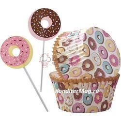 Форма для кексов бумажная круглая Пончики 5 см. и топперы 24 шт. Вилтон 1