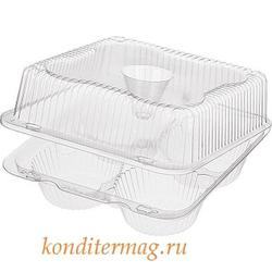 Контейнер для 4 пирожных Ракушка 20х20х9 см. Комус пластик 1
