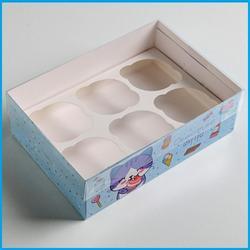 Коробка 6 ячеек 16х23х7,5 см. Счастье внутри прозр. крышка 1