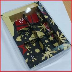 Коробка для конфет 15х11,5х3 см. 6 ячеек Елка черн/зол. пл/крышка 1