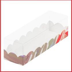 Коробка для макаронс 19х5,5х5,5 см. Акварель светлая с окошком 1