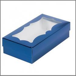 Коробка для макаронс 21х11х5,5 см. Синяя с окошком 1