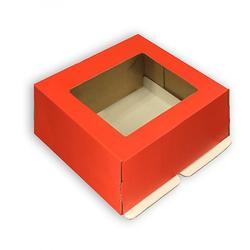 Коробка для торта 21х21х10 см. Красн/окно сверху 1