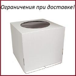 Коробка для торта 32х32х35 см. Бел/окно 1