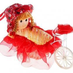 Корзина декоративная Девочка на велосипеде 1