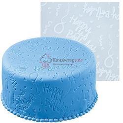 Мат текстурный для мастики 50х50 см. День рождения силикон Вилтон 1