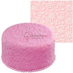 Мат текстурный для мастики 50х50 см. Цветочная фантазия силикон Вилтон 1