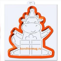 Формочка для печенья Корова с подарком 12,5х11 см. + трафарет Любимова 1