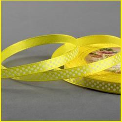 Лента атласная №112 Желтая 0,6 см.х23 м. белый горошек 1