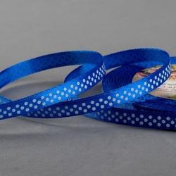 Лента атласная №40 Синяя 0,6 см.х23 м. белый горошек 1