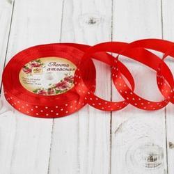 Лента атласная №026 Красная 1,5 см.х23 м. белый горошек 1