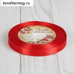 Лента атласная №26 Красная 1 см.х23 м. 1