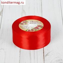 Лента атласная №26 красная 4 см.х23 м. 1