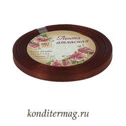 Лента атласная №74 Шоколадная 0,6 см.х23 м. 1