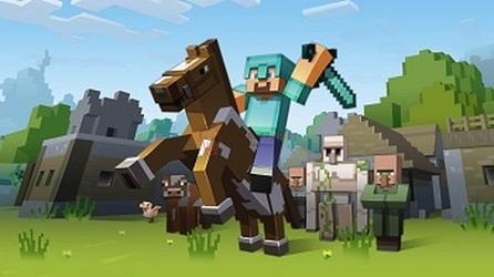 Вафельная картинка Майнкрафт на коне 1