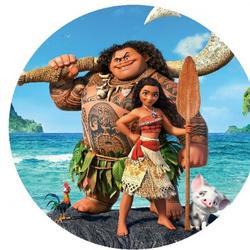 Вафельная картинка Моана и Мауи круглая 1