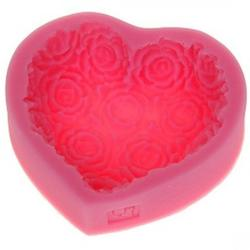 Молд силиконовый Сердце из крупных  роз 7,5х6,5х2 см. 1