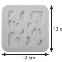 Молд для шоколада и мастики силиконовый Сердечки Delicia Deco, 3