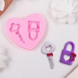 Молд силиконовый Ключ и замочек 5,5х6 см. 1