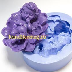 Молд силиконовый Младенец в цветке 7 см. 1
