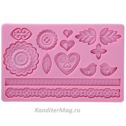 Молд силиконовый планшет Романтика 20х12 см. 1