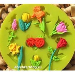 Молд силиконовый Розочки тюльпаны 2