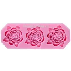 Молд силиконовый Три розы 12х4,5 см. 2