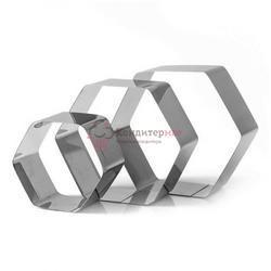 Набор форм для выпечки и выкладки Шестиугольник 7,8,11х5 см. 3 шт. Tas-prom 1