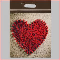 Пакет вырубная ручка Большое сердце 31х40 см. 60 мкм. 1