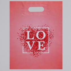 Пакет вырубная ручка Love розовый 31х40 см. 60 мкм. 1