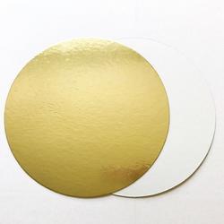 Подложка под торт усиленная 1,8 мм. 22 см. зол/бел. 1