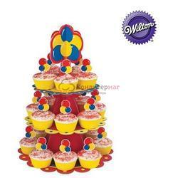Подставка для сладостей 3-ярусная Воздушные шары картон Вилтон 1510-135 1