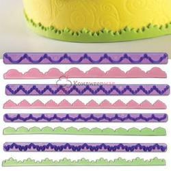 Выемка-штамп для бордюров торта Рельеф 4 шт. 1