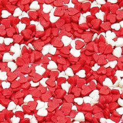 Посыпка сахарная Сердечки мини красно-белые 100 г. 1