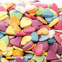 Посыпка сахарная Сердечки разноцветные 90 г. банка 1