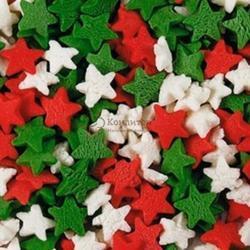 ПосыпкаЗвездыкрасные, белые, зеленые 100 г. 1
