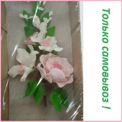 Украшение сахарное Букет Орхидея с розовой розой 1