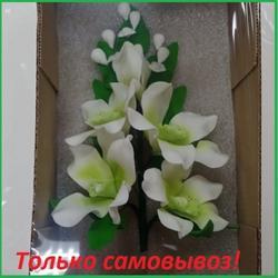 Украшение сахарное Орхидея бело/салатовая 1