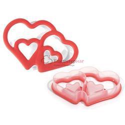 Формочка для печенья Двойные сердца 13х9 см. пластик Silikomart 1